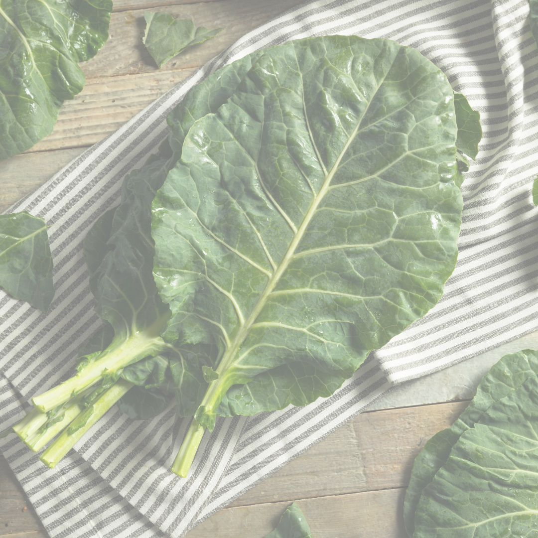 picture of stacked collard leaves