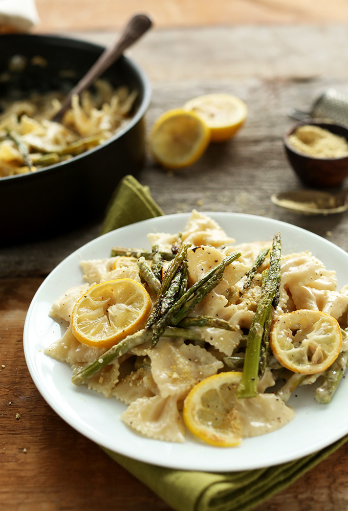 Creamy-Vegan-Lemon-Asparagus-Pasta-Bowtie-pasta-in-a-thick-and-creamy-sauce-with-lemon-roasted-asparagus-BUTTER-FREE-and-Dairy-Free-vegan minimalist baker
