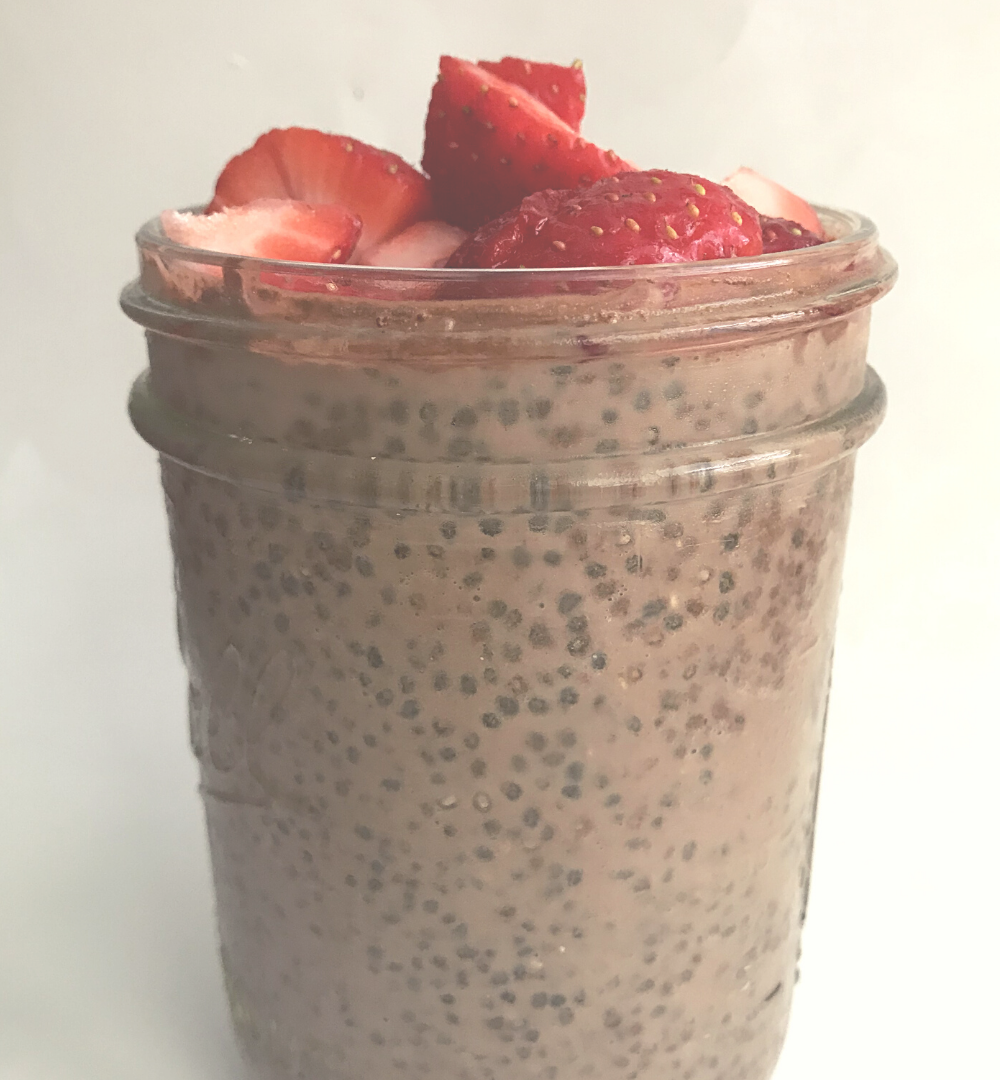 chia seed pudding in glass jar