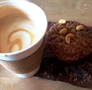Vegan latte and muffin at The Wydown Coffee Bar in Washington, D.C.