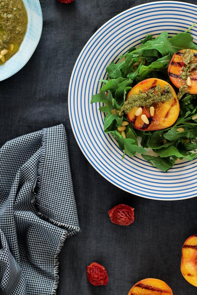 Grilled-Peach-Rocket-Salad-with-Vegan-Basil-Pesto