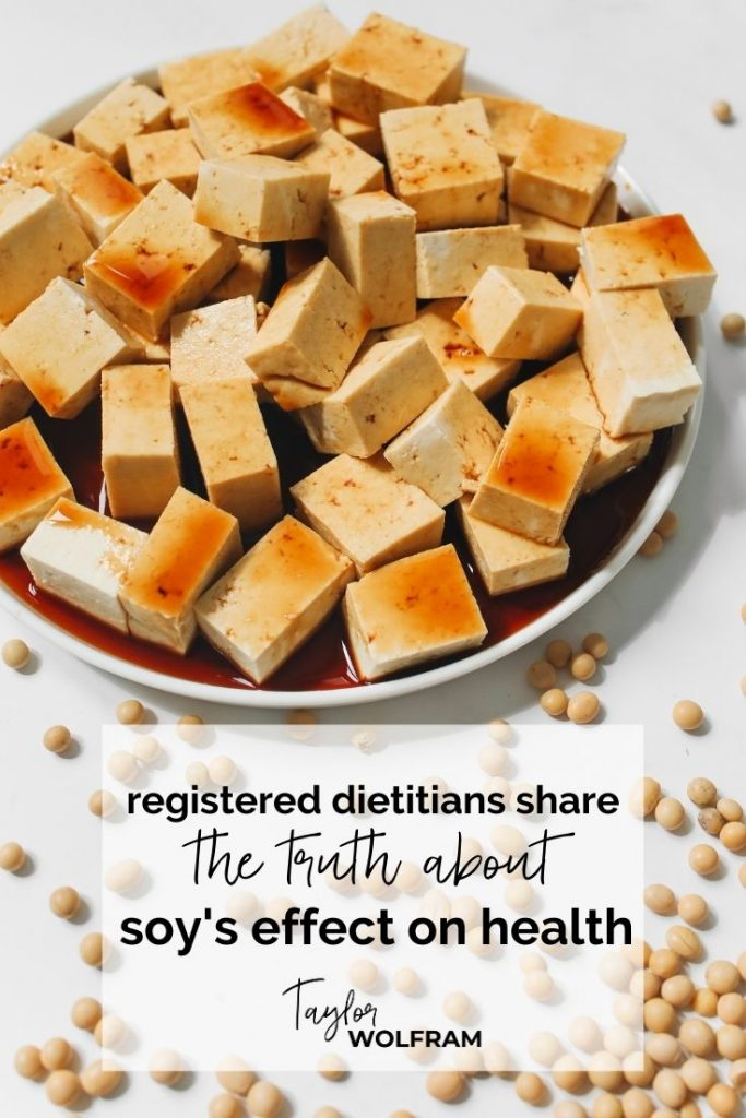 """A bowl of cubed tofu covered in soy sauce with text that says """"registered dietitians share the truth about soy's effect on health"""""""