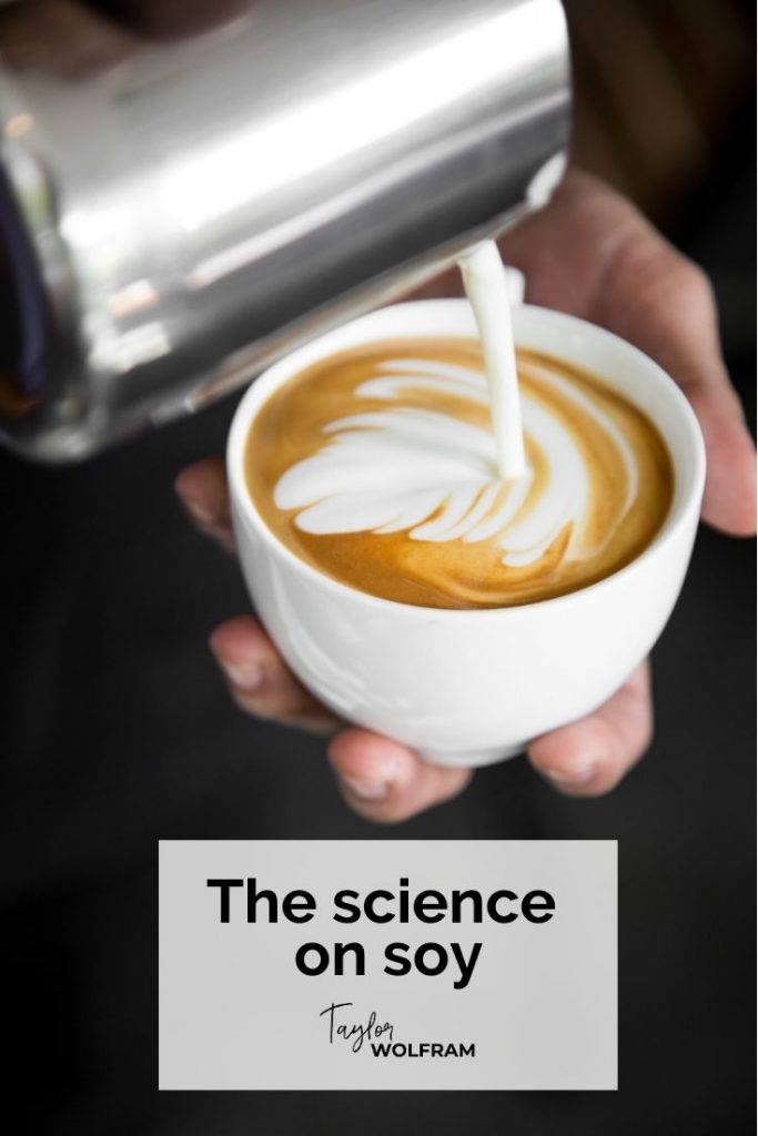 Photo of a latte being poured. Text says the science on soy.