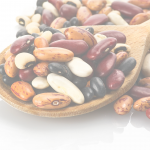 picture of different dry beans in wooden spoon