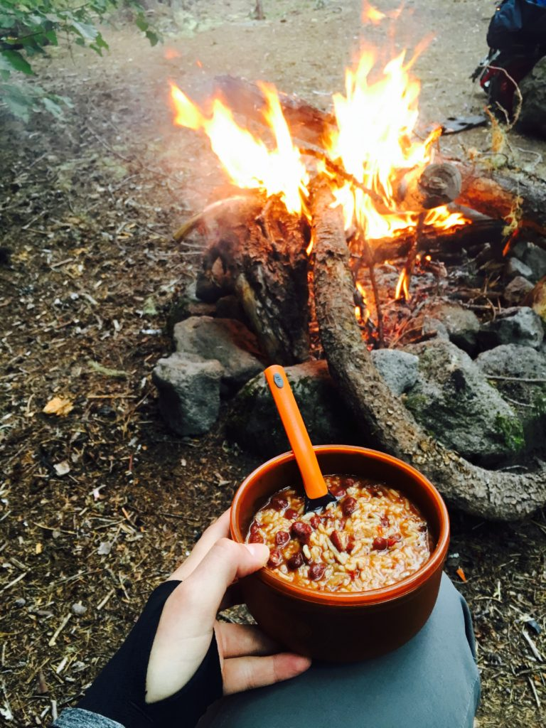 Dinner = rehydrated bean chili by the fire at the end of a long first day.