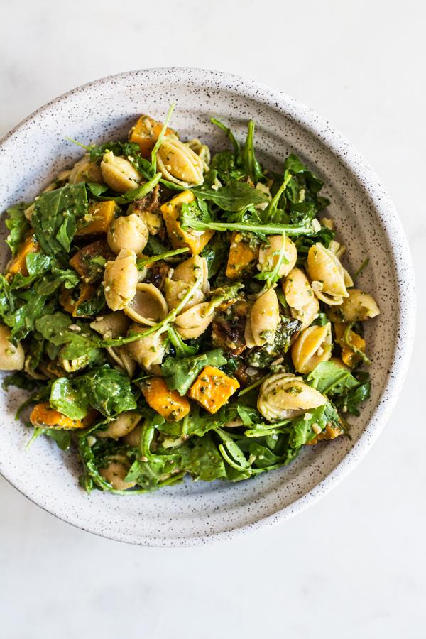 Roasted Butternut Squash, Zucchini & Arugula Pesto Pasta Salad