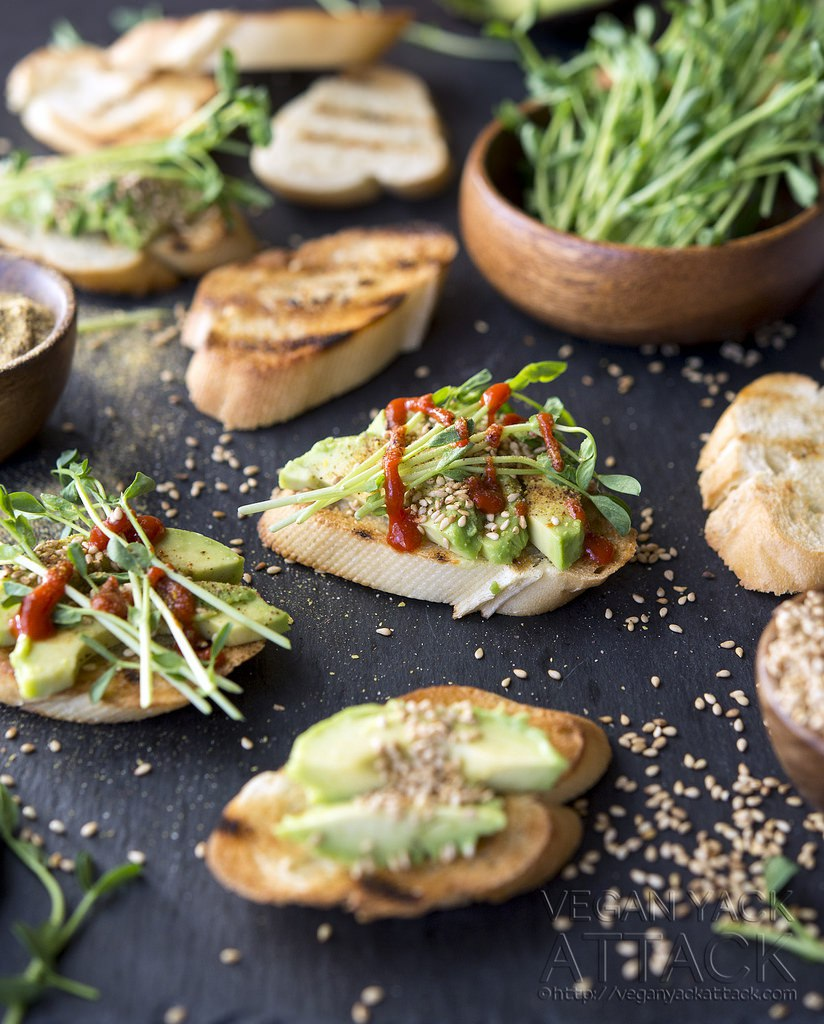Smoky Sesame Avocado Crostini from Vegan Yack Attack