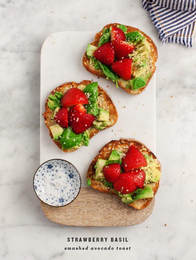 Strawberry Basil Smashed Avocado Toast from Love & Lemons