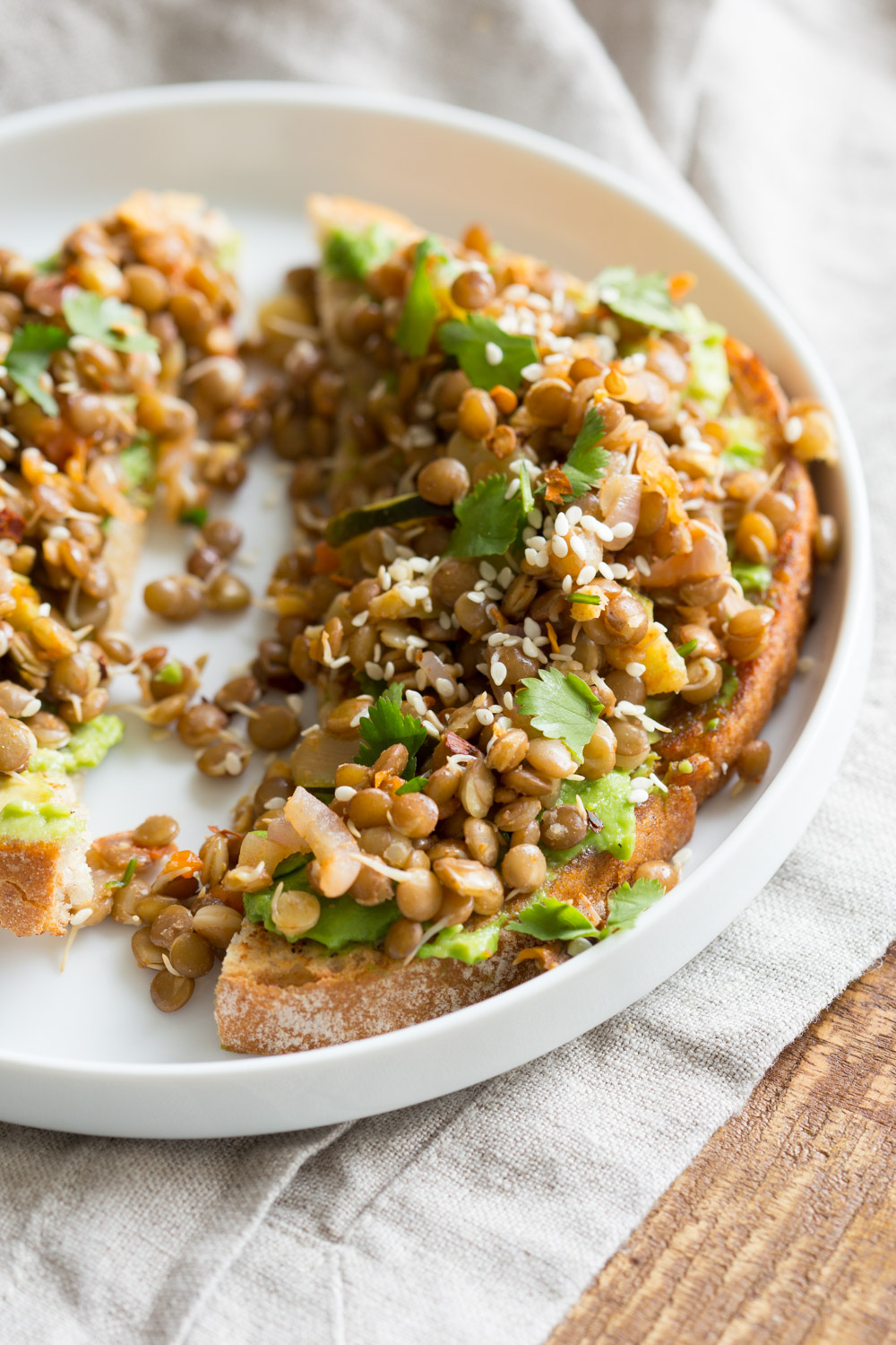 Ginger Coriander Sprouted Lentils Avocado Toast from Vegan Richa