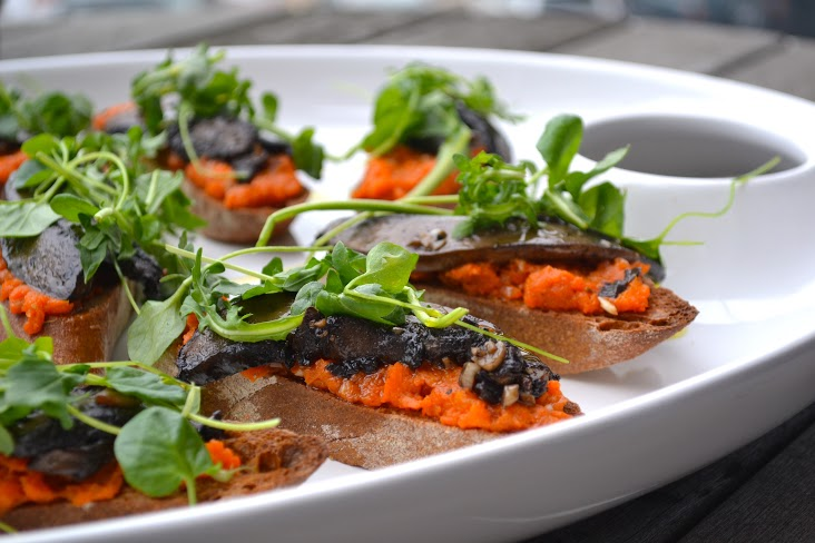 Vegan Portobello Crostini with Tunisian Carrot Puree and Greens from Jackie Newgent