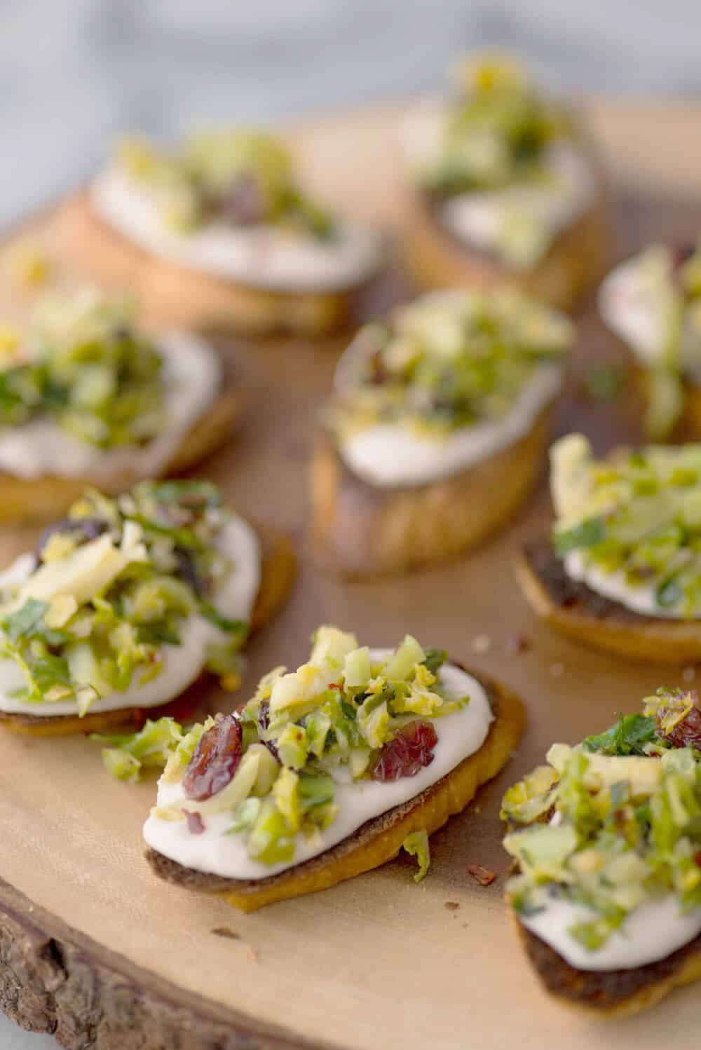 Brussels Sprout Crostini from Delish Knowledge