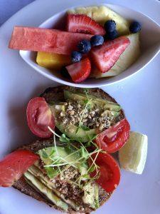 Avocado toast and fruit from Hotel Wailea