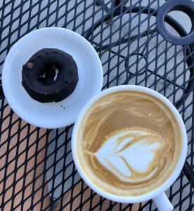 Vegan donut and latte at Akamai Coffee in Kihei