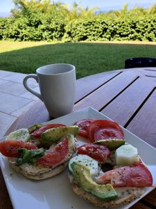 Homemade bagels on our terrace at Hotel Wailea
