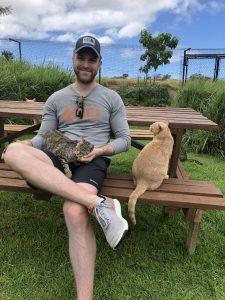 AJ with kitties at Lanai Cat Sanctuary
