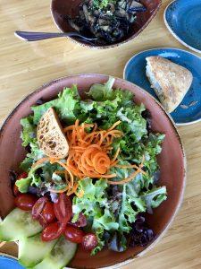 Salad and sauteed mushrooms at Lahaina Fish Company