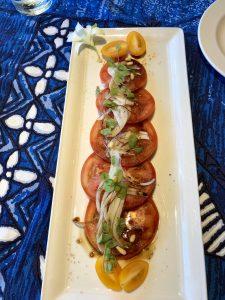 Tomato basil salad at Mama's Fish House on Maui