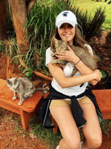 Taylor with kitties at Lanai Cat Sanctuary