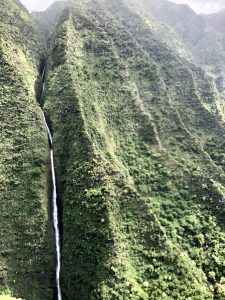 Waterfall from helicopter in Kauai