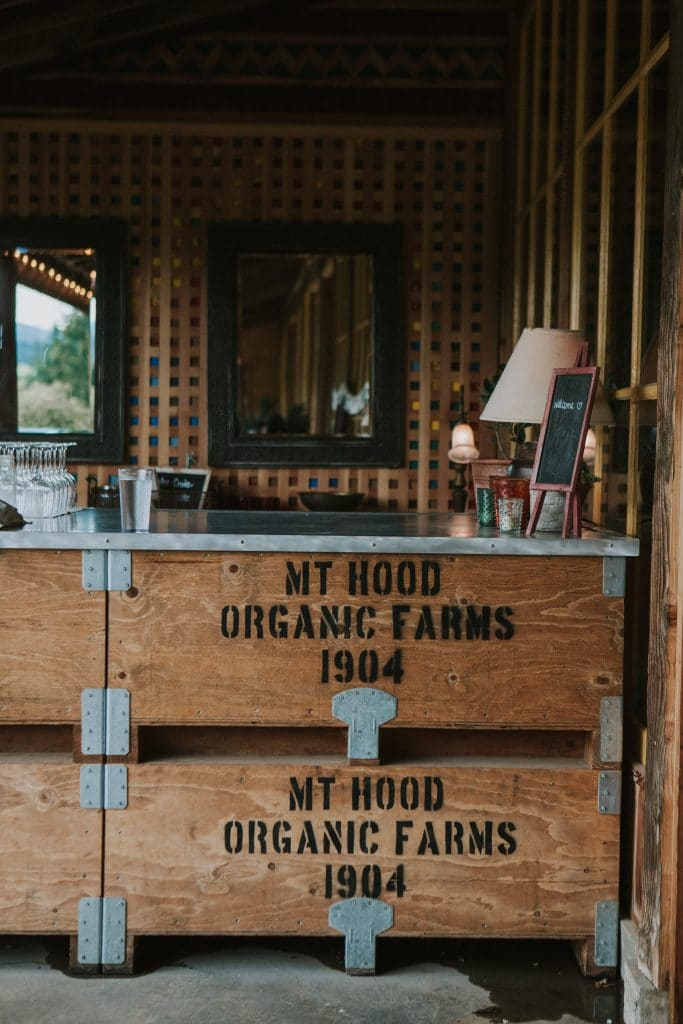 Bar at Mt. Hood Organic Farms wedding