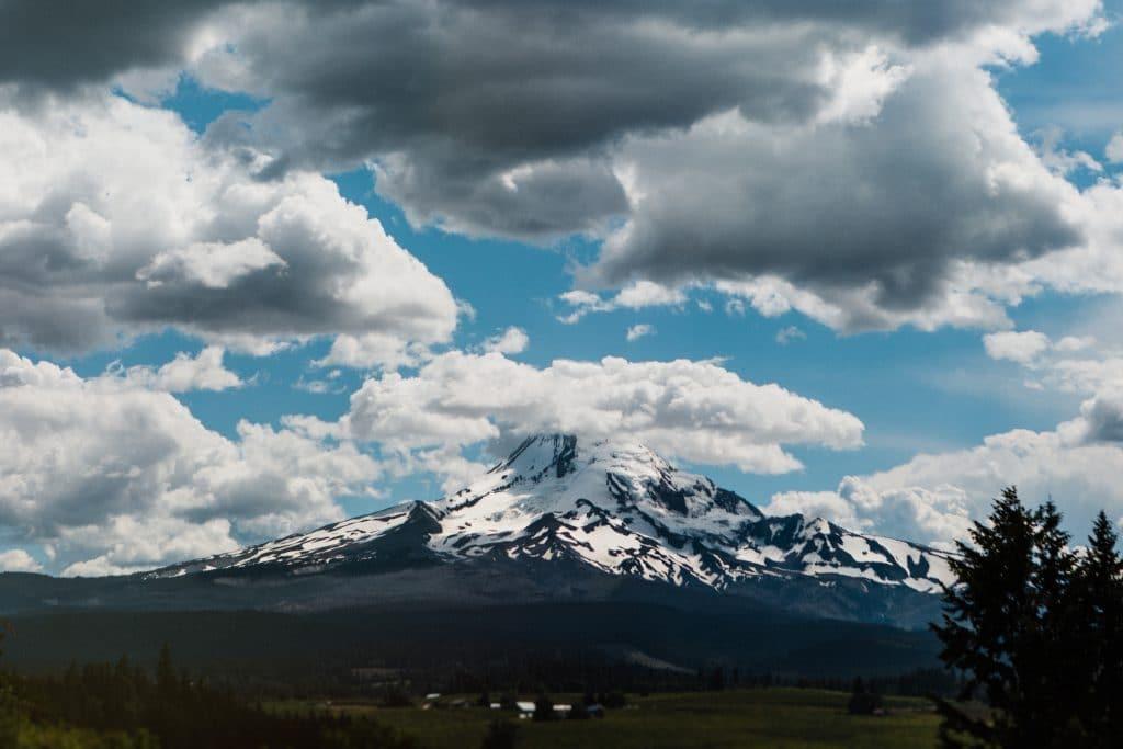 Oregon wedding view: Mt. Hood from Mt. Hood Organic Farms