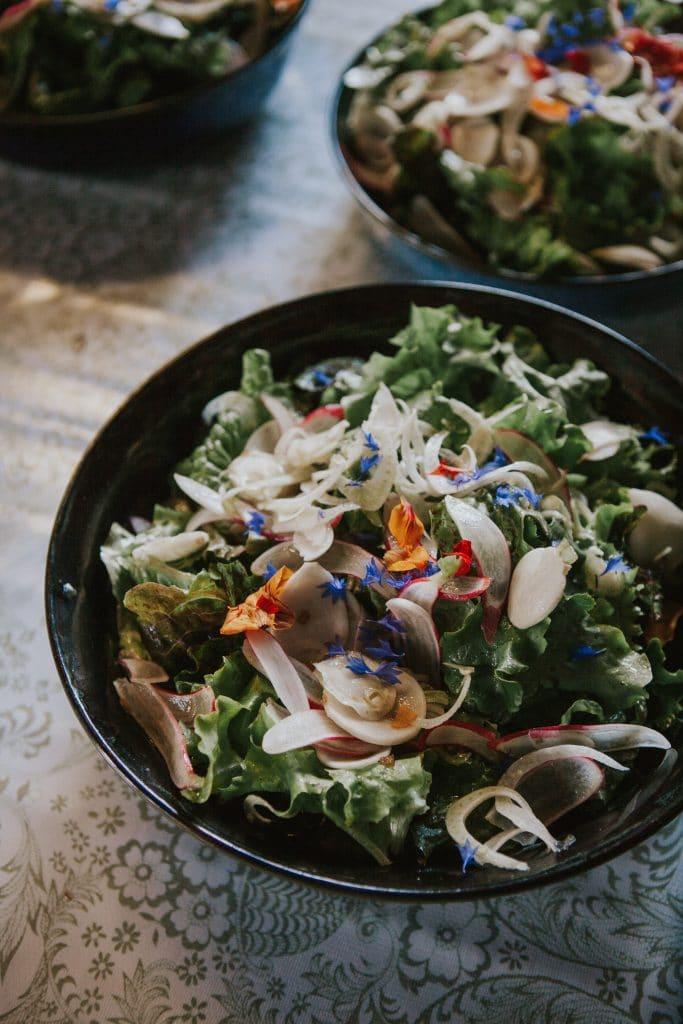 Vegan salad at Mt. Hood Organic Farms Wedding