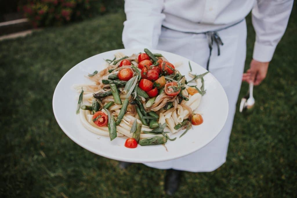 Vegan pasta at Mt. Hood Organic Farms Wedding