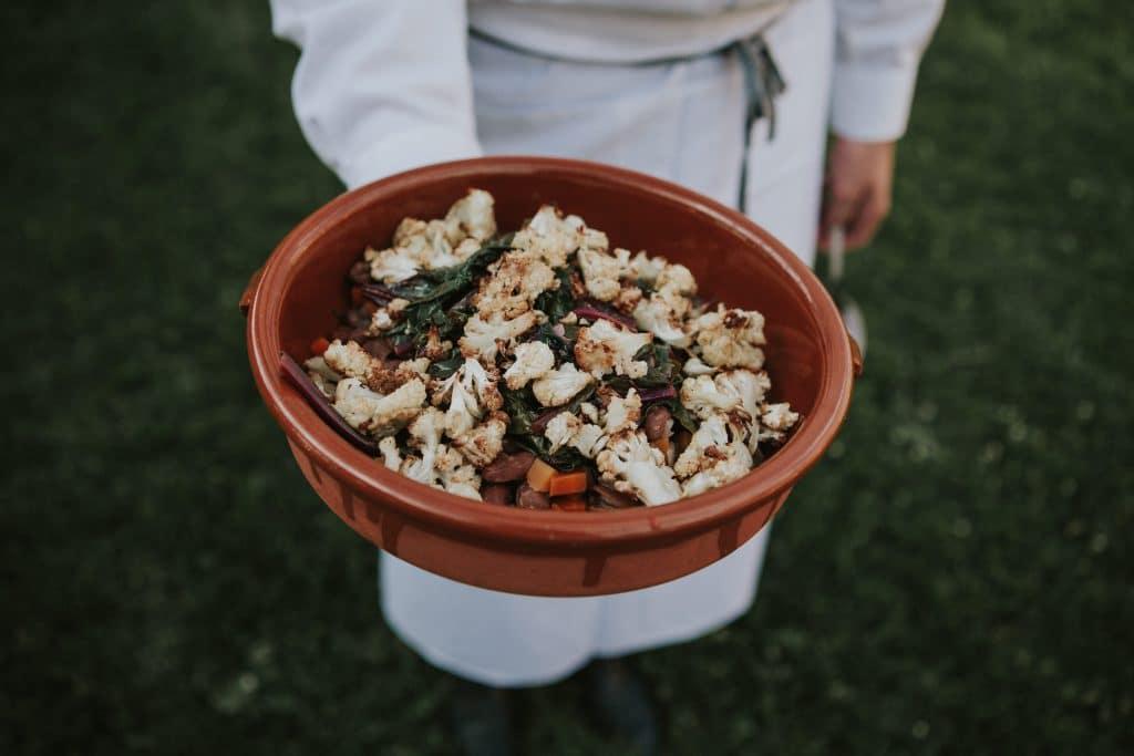 Vegan beans, greens and cauliflower at Mt. Hood Organic Farms Wedding