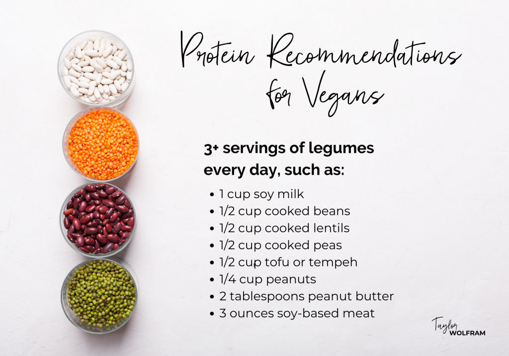 "Text ""protein recommendations for vegans"" with a list of high-protein legumes over a photo of bowls of dried beans and lentils"