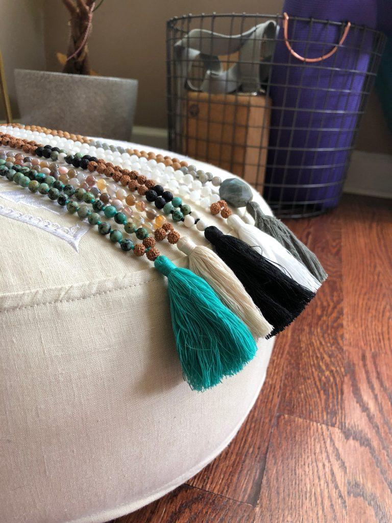 Malas on Meditation Cushion