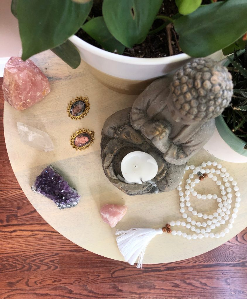 I Am Intuitive Mala on Meditation Altar
