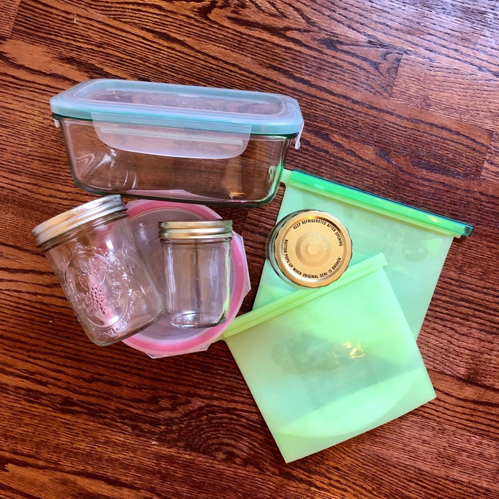 Eco-Friendly Glass Food Storage Containers, Glass Jars and Silicone Food Bags