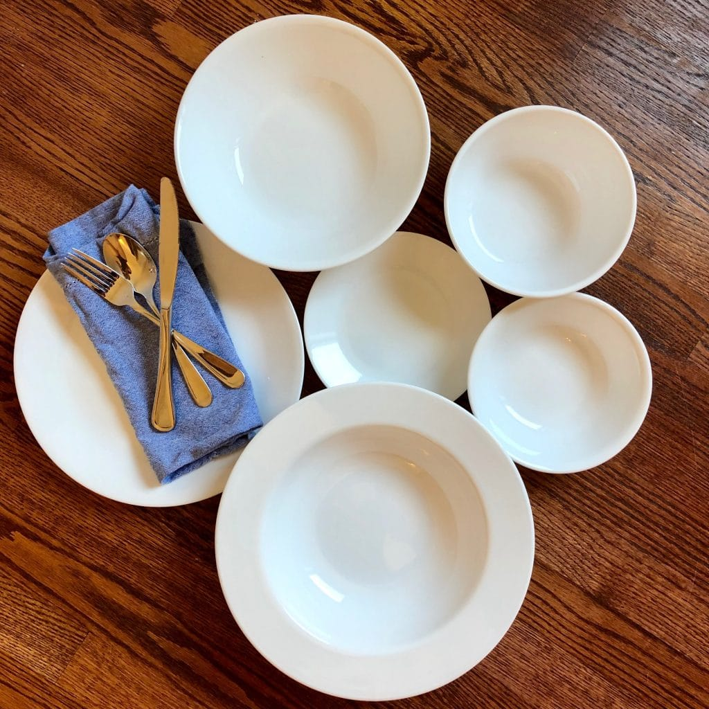 Reusable Chip Resistant Dishes, Reusable Utensils and Cloth Napkin