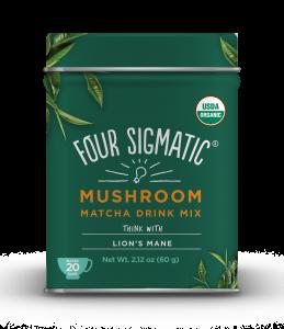 Green tin of Four Sigmatic mushroom matcha drink mix
