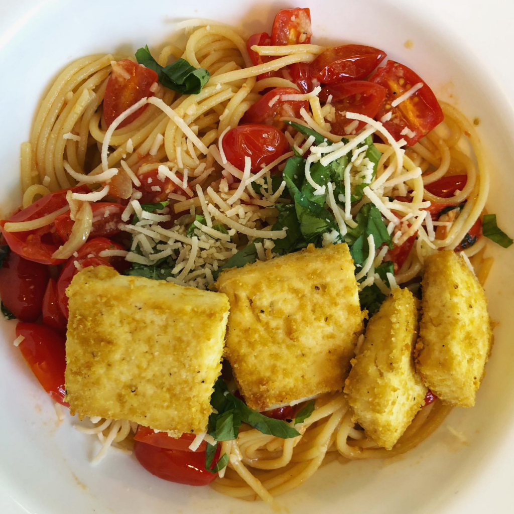 bowl of pasta with nooch tofu