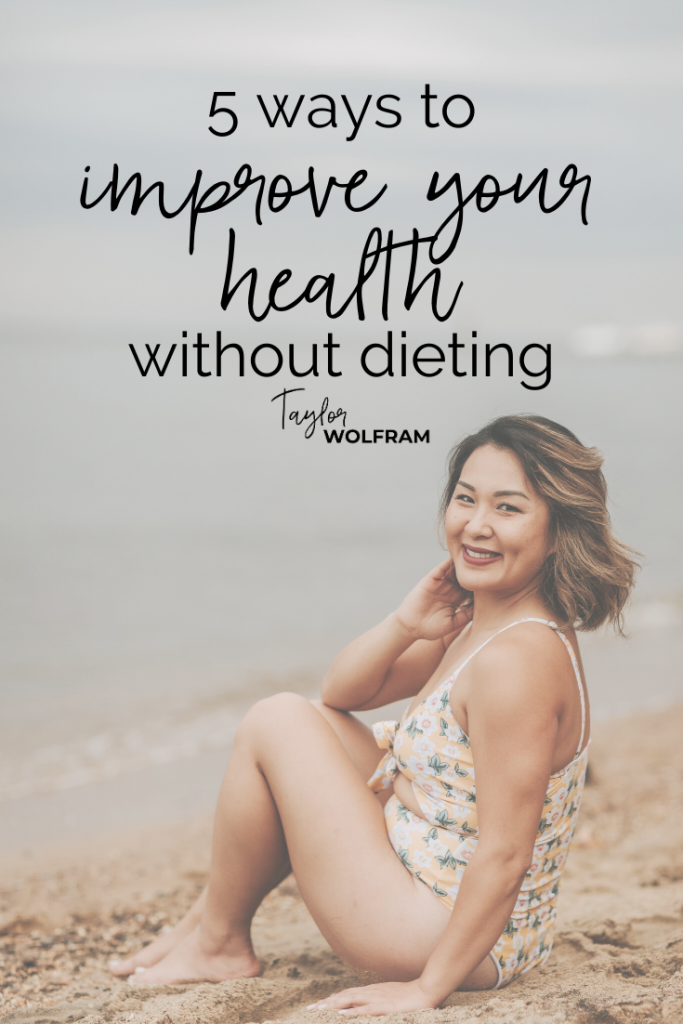 """Smiling Asian woman in bathing suit on beach with text overlay that says """"5 ways to improve your health without dieting"""" by Taylor Wolfram"""