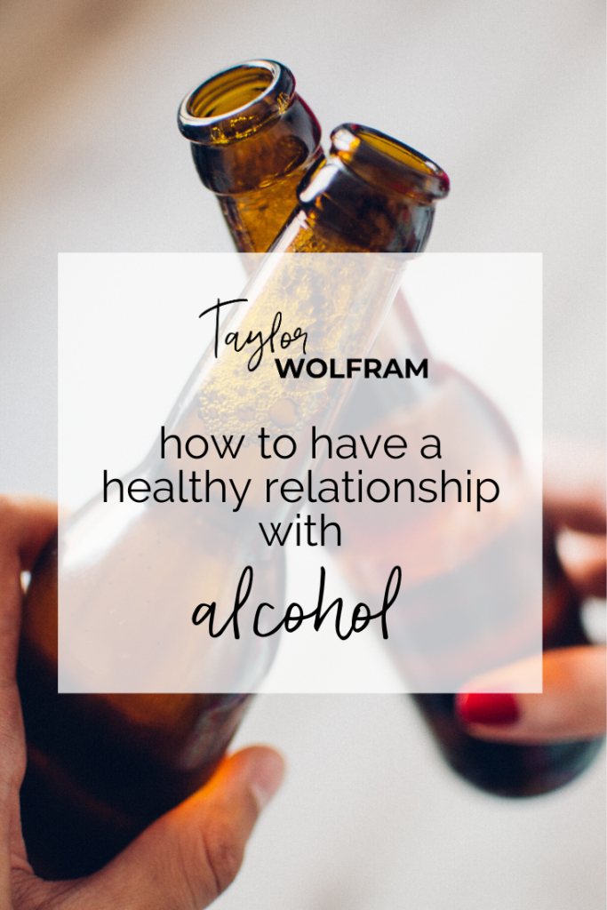 "Image of two hands cheers'ing beers with text overlay that says ""how to have a healthy relationship with alcohol"""