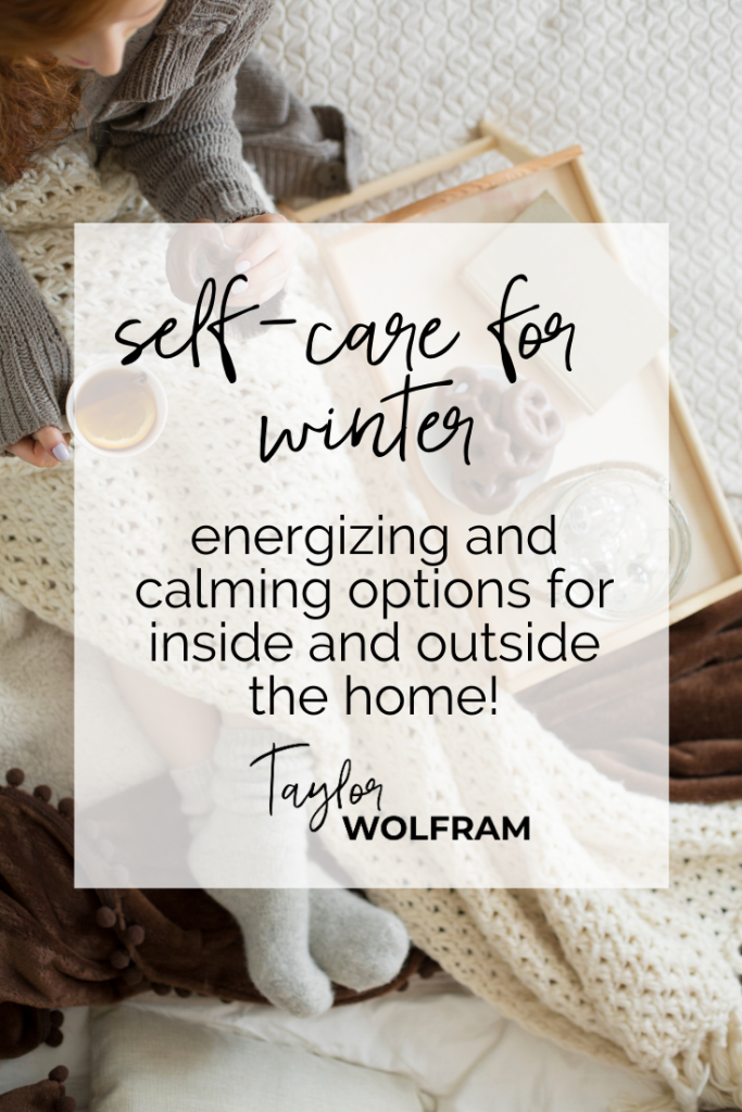 Pinterest graphic for winter self-care ideas