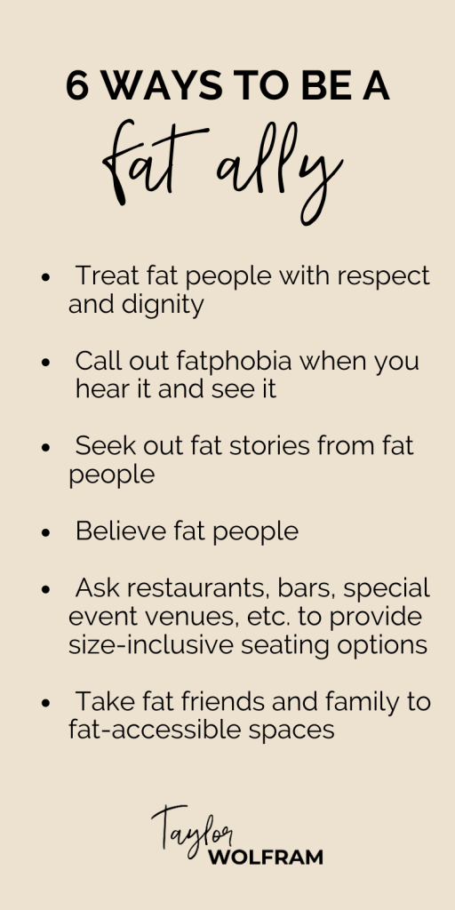 list of 6 ways to be a fat ally