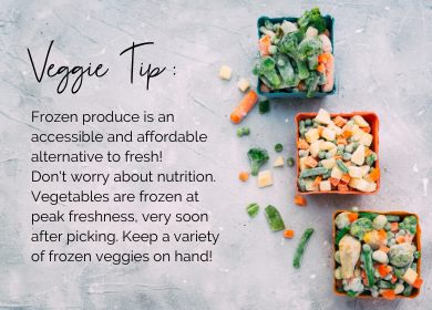 Flat lay of frozen vegetables with text explaining why frozen vegetables are nutritious