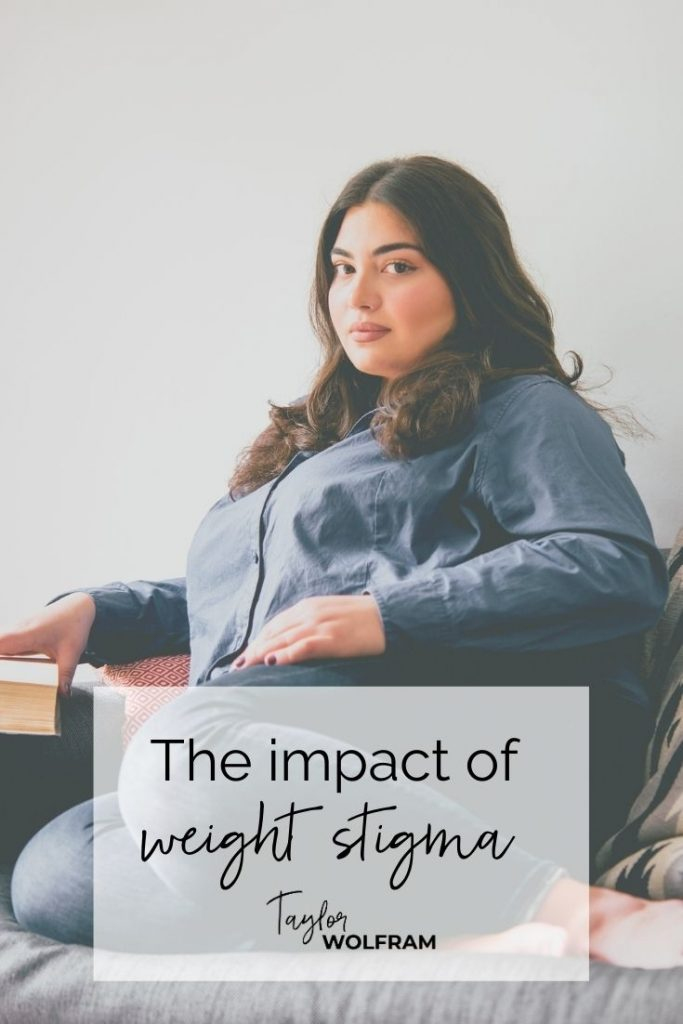 "Curvy brunette woman with a serious look on her face, looking at the camera. Text says ""the impact of weight stigma"""