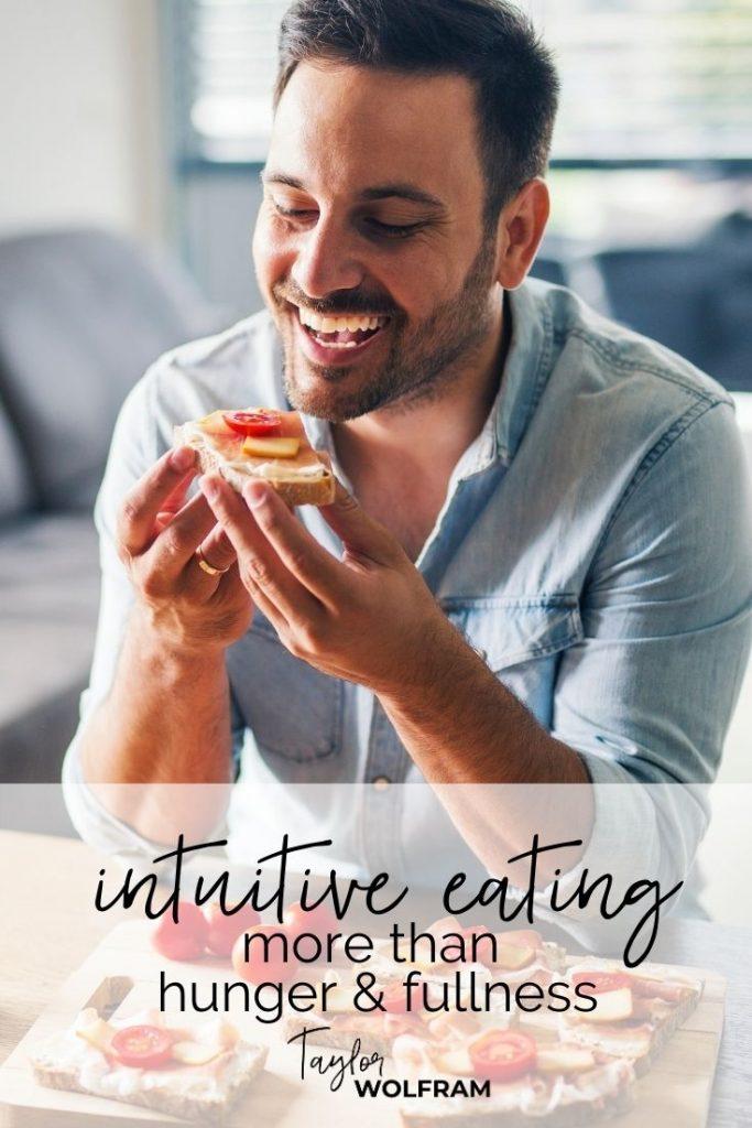 Happy man eating