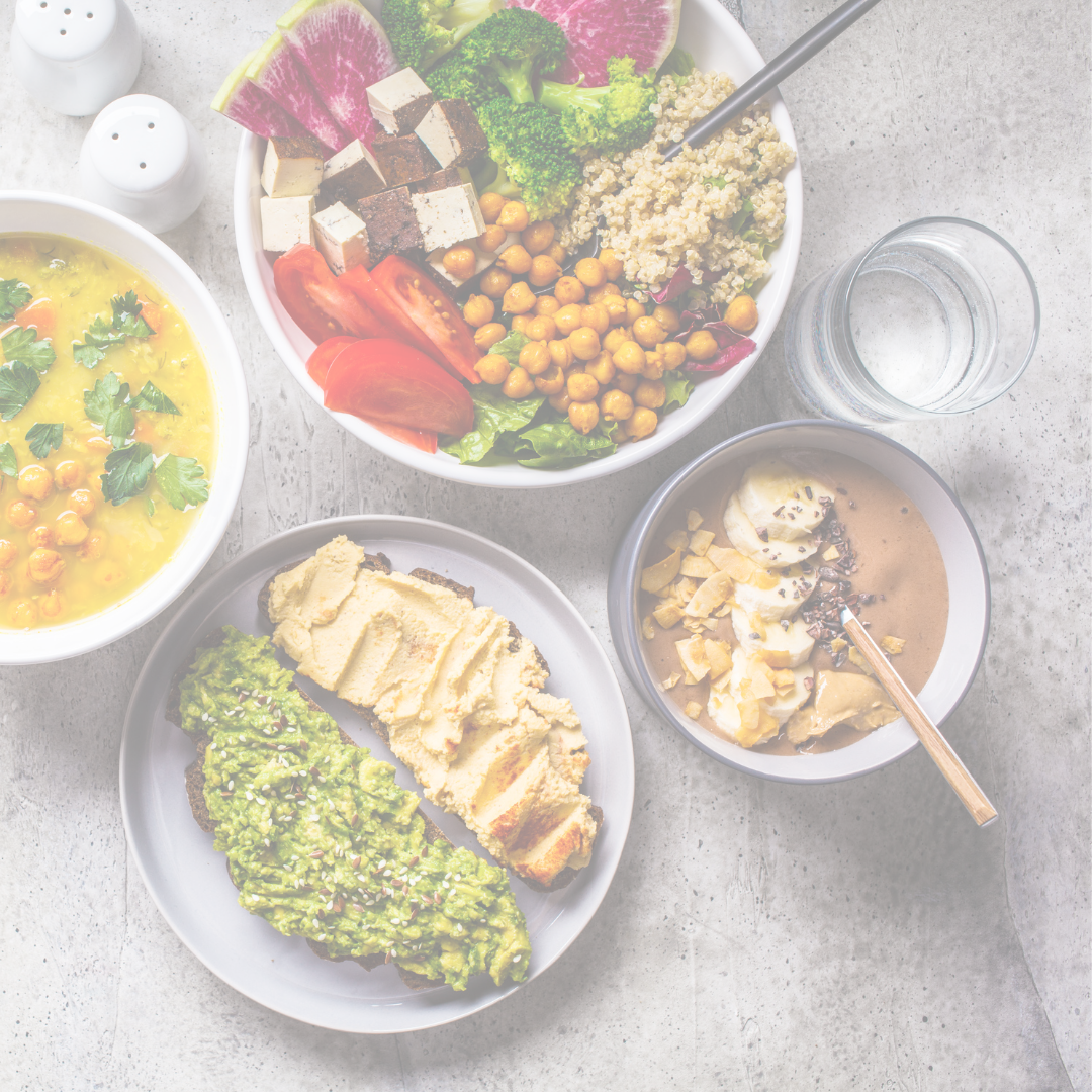 a spread of colorful vegan food