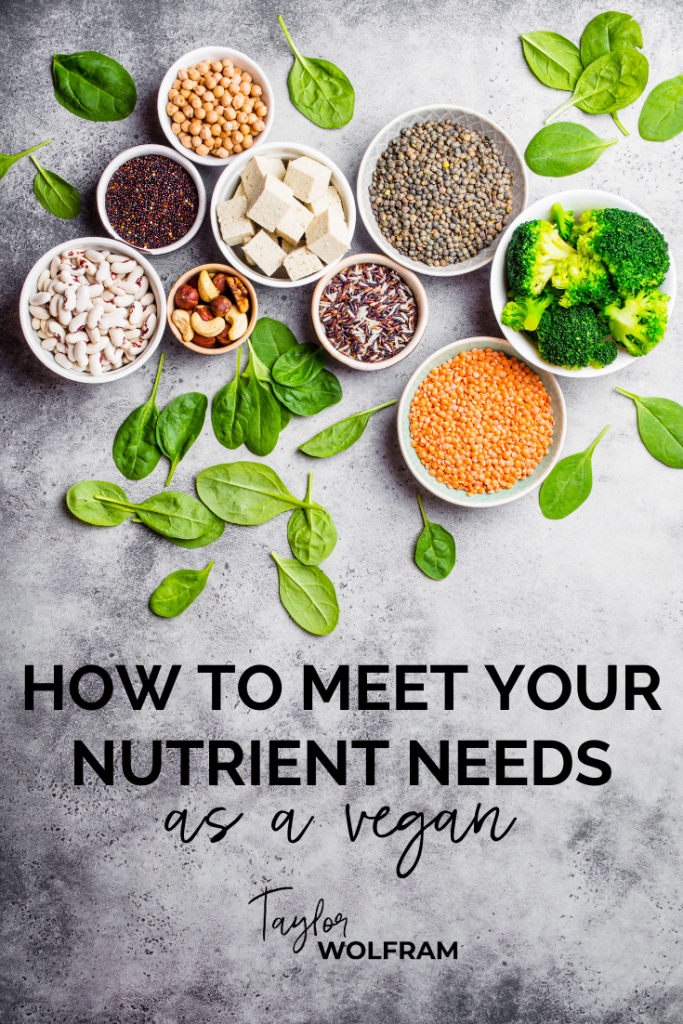 """A spread of colorful vegan foods with text overlay that says """"HOW TO MEET YOUR NUTRIENT NEEDS as a vegan"""""""