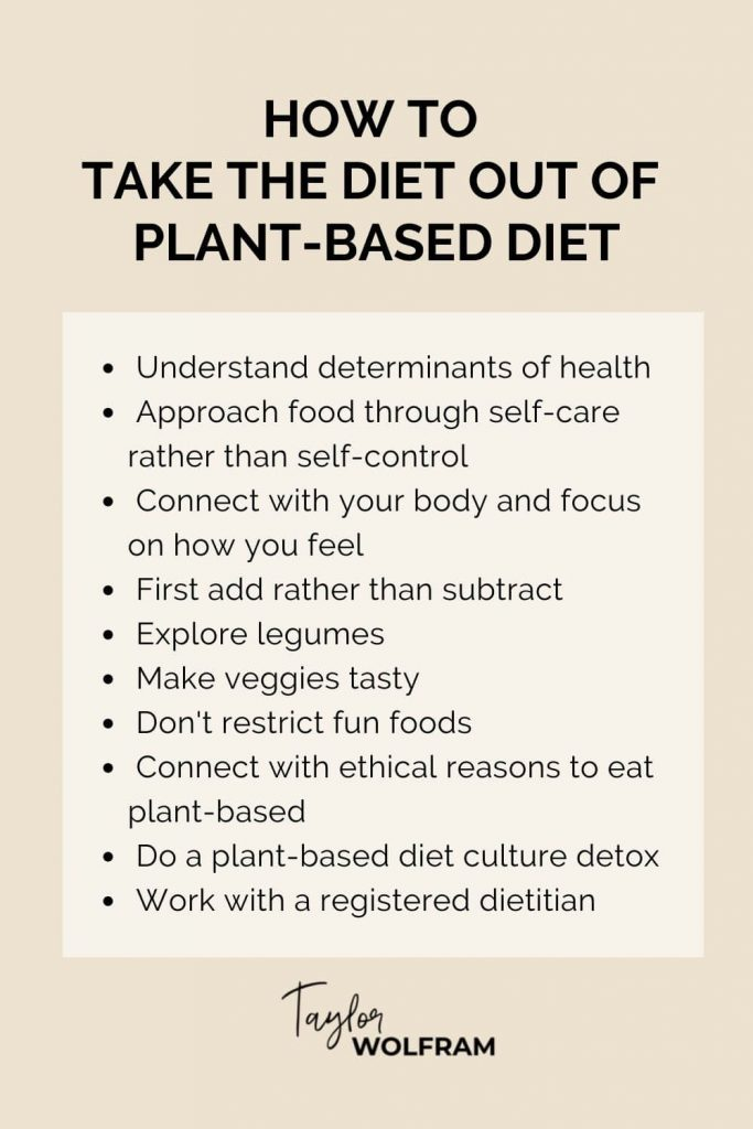 Tan background with a written list of 10 ways to ditch diet mentality while eating plant-based