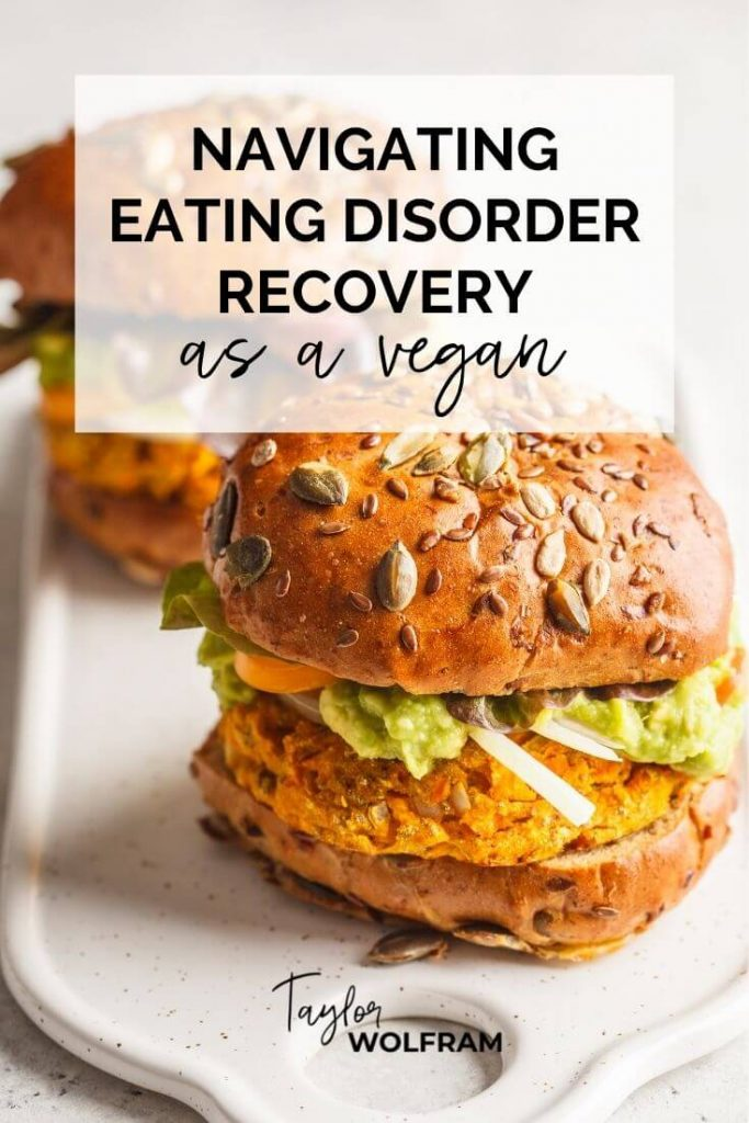 """Photo of 2 vegan burgers with text overlay that says """"navigating eating disorder recovery as a vegan"""""""
