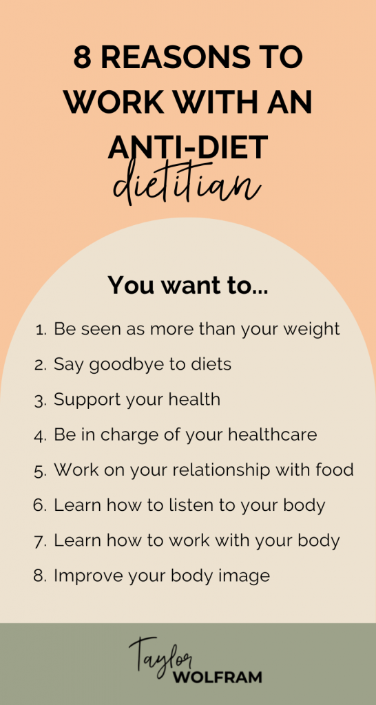 A text graphic listing 8 reasons to work with an anti-diet dietitian